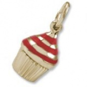 Rembrandt Red Cupcake Charm, 10K Yellow Gold