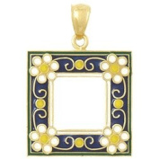 Gold Charm Navy Picture Frame With White Enamel Flowers