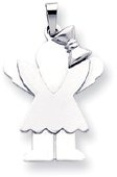 Girl with Bow and Wings Charm, White Gold