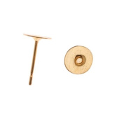 Gold Plated Flat 6mm Glue On Earring Posts