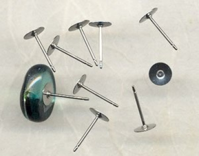 Earring Posts - Glue Pad, Stainless Steel