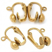 2 Pairs Gold Plated Clip On Clipon Earrings Findings