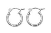 Sterling Silver 2mm x 10mm Click Down Tiny Hoop Earrings - 1 pair