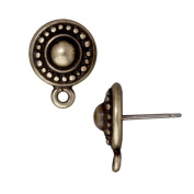 Brass Oxide Finish Pewter Stud Post Earrings Beaded Round 11mm