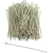 100 Hat Eye Pins White Loop Bead Earring Findings 21 Gauge