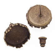 Antique Bronze Plated Stud Earrings Findings Fit 14mm Cabochon Settings- 20pcs