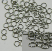 100 Split Ring Stainless Steel, 6mm Round Spring Steel Thin Lightweight 22 Gauge