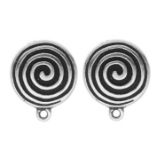 Silver Plated Pewter Spiral Clip On Earrings 17mm