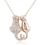18k White/gold Plated Cute Cat Austrian Crystal Necklace Pendant Double Cat Necklace-gold