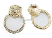 WIIPU golden colour alloy with rhinestone LION HEAD Hoop Doorknocker Earrings