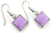 Jilzara Earrings - Square Bezel - Lilac - New Clay Artisan Bead 603-006