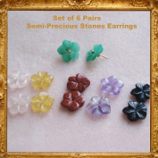 Set of 6 Pairs of Interchangable Semi-Precious Hand Crafted Flower Earrings