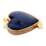 Rose Gold Plated 3 Rows Heart Shape Assorted Colour Dyed Agate Jewellery Clasp.
