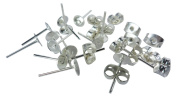 Silver Plated Earrings Blank Pins Pierce Stud Findings DIY Supplies Back Post Earnuts Pad Butterfly