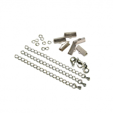 16mm or 5/8 inch Silver Ribbon Choker Bracelet Hardware Kit
