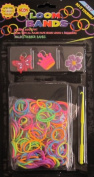 D.I.Y. LOOM BANDS Colourful 'NEON' SET w 300 RAINBOW Colours 'NEON' RUBBER BANDS (NO Latex), 3 CHARMS (Butterfly, Crown & Flower), CLIPS & TOOL