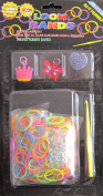 D.I.Y. LOOM BANDS Colourful 'NEON' SET w 300 RAINBOW Colour 'NEON' RUBBER BANDS (NO Latex), 3 CHARMS (Butterfly, Crown & Heart), CLIPS & TOOL