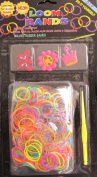 D.I.Y. LOOM BANDS Colourful 'NEON' SET w 300 Colourful 'NEON' RUBBER BANDS (NO Latex), 3 CHARMS (Smiley Face FLOWER, CROWN & BUTTERFLY CHARM), CLIPS & TOOL