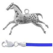 Gift Boxed Hands High Pendant with 46cm Blue Cord Sterling Silver Horse Jewellery Set