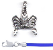 Gift Boxed Scorpion Pendant with 41cm Blue Cord Sterling Silver Spider Jewellery Set