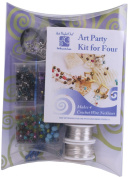 """Art Night Out Party Kit Crochet Wire Jewellery Necklaces or Bracelets, Silver with """"Cool"""" Colours"""