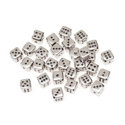 Plastic Silver Dice Beads 10mm