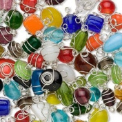 Silver-plated wire-wrapped glass multicoloured handmade mixed shape beads 7x4mm-14x11mm -Sold per pkg of 15 beads