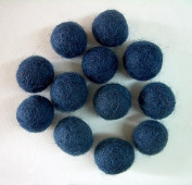 Felted Wool Beads- Package of 12 Dark Blue 1.3cm Diameter