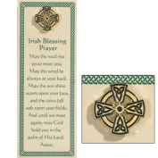 Irish Blessing Prayer Holy Card Bookmark with Celtic Cross Lapel Pin Religious Gift Set
