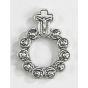 Catholic Gift Rosebud Shape Prayer Beads 3.8cm Silver Tone Rosary Prayer Ring