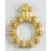 Catholic Gift Rosebud Shape Prayer Beads 3.8cm Gold Tone Rosary Prayer Ring