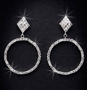Crystal Rhinestone Earrings, 5.1cm - 0.6cm Long, Crystal/Silver NEC-4025