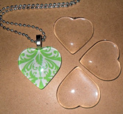 10 Clear 2.5cm Glass Tile Hearts for Jewellery Making and Crafting