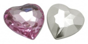 About 25 pcs Cabochons, Acrylic Rhinestone Beads, Faceted, Heart, Pink, about 16mm wide, 16mm long, 5.2mm thick