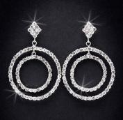 Crystal Rhinestone Earrings, 5.1cm Long, Crystal/Silver NEC-4028