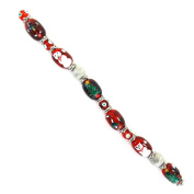 Fiona SUP-11-3 18cm Beads Strand, Snow Man Christmas Tree and Ginger Bread Man Painted on Red Glass Beads