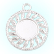 20 PCS Silver Plated Pendant Trays- Fit 14mm Round Cabochon