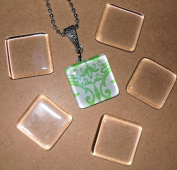 20 Ultra White Clear Small Square Glass Tiles