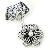Scarf Jewellery - Antique Silver Pearl & Rhinestone Flower Scarf Pendant