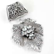 Scarf Jewellery - Antique Silver Leaf with Rhinestones Scarf Pendant