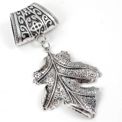 Scarf Jewellery - Antique Silver Oak Leaf Scarf Pendant
