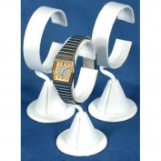 3 White Leather Wrist Watch Jewellery Showcase Displays