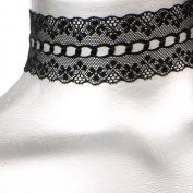 Wide Scalloped Galoon Black Lace Choker -- Size Large