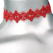 Diamond Filigree Red Venice Lace Choker -- Size Small