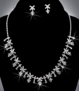 Bride Crystal Rhinestone Necklace Chain and Earring Set, Crystal / Silver, NEC-2070