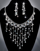 Crystal Rhinestone Necklace Chain and Earring Set, Crystal AB/Silver NEC-2047