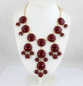 smooth dark red bubble bib necklace,statement bubble necklace