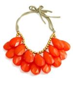 wiipu coral colour teardrop bubble necklace,statement bubble necklace,bubble jewellery