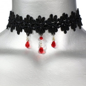 Gothic Red Crystal Black Lace Choker Necklace -- Size Large