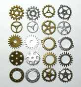 20 pcs Gears Cogs Antiqued Brass & Silver for Crafting Steampunk Jewellery & Altered Art 2.5cm size